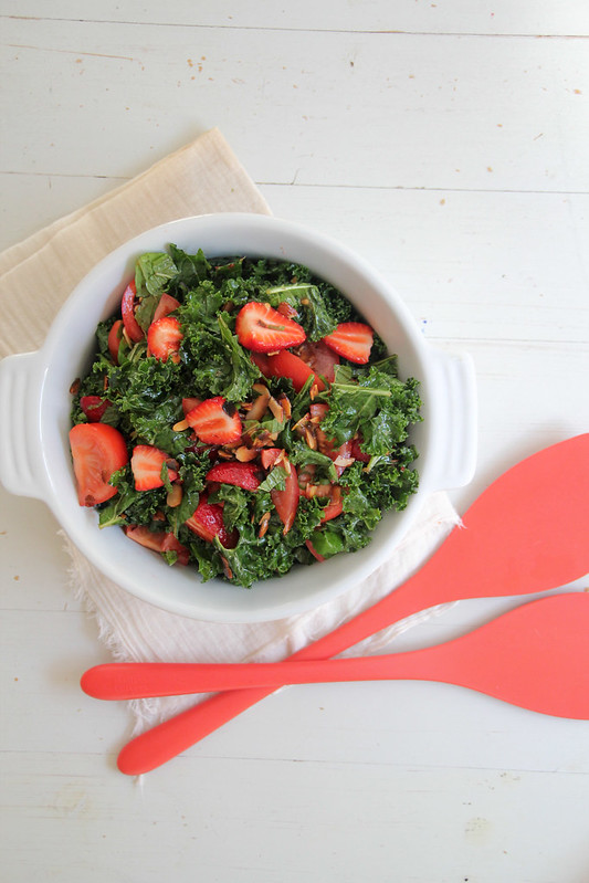 massaged kale salad w strawberries, tomatoes + maple-lemon-truffle dressing