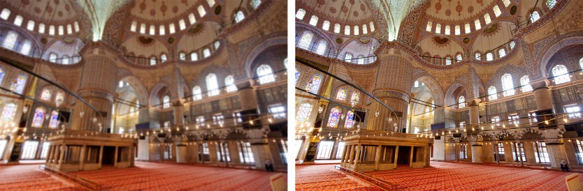 Blue Mosque. (Left) with camera shake. (Right) using a tripod.