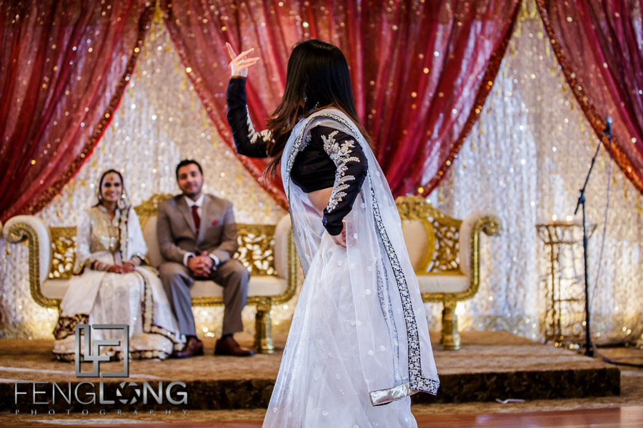Guest dancing during wedding reception
