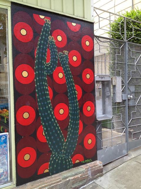 Colorful cactus mural