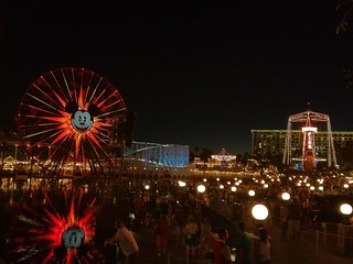 Paradise Pier at night before the World of Colours show.