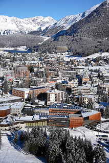 Annual Meeting Davos: Aerial photograph of Davos and the Congress Center