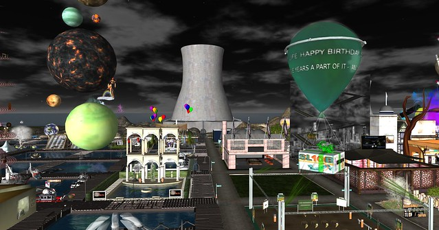 Looking over the water sim to the reactor by Rails Bailey