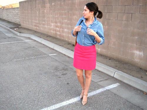 Gold Polka Dots - Chambray Shirt and pink skirt 3