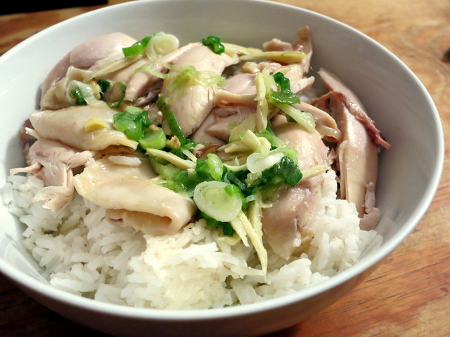 Chinese white cut chicken, ginger-scallion sauce and rice