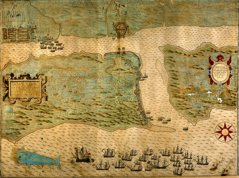 Baptista Boazio's Map of Sir Francis Drake's Raid on St. Augustine (published in 1589)