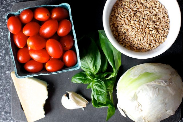 tomatoes, farro, onion, basil, garlic, parmesan