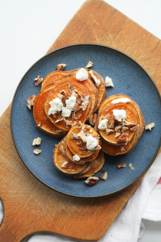 roasted sweet potatoes with pecans and chevre [ inthiskitchen.com ]