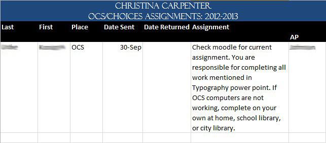 OCS Assignments