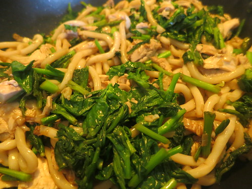 Northern gai lan and chicken yakiudon