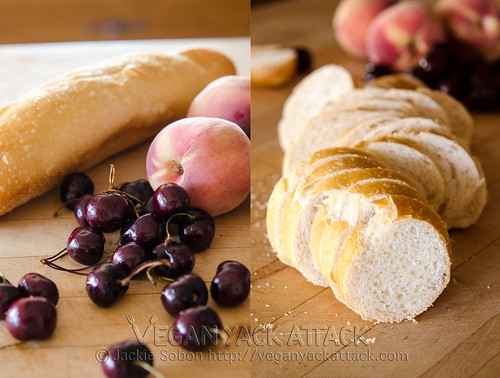 Dark sweet cherries with peaches and sliced bread