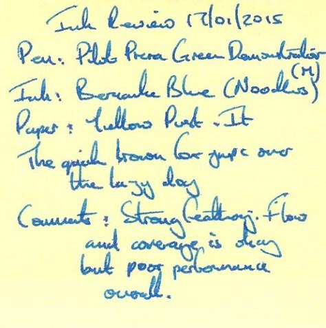 Noodler's Bernanke Blue Ink Review - Post It