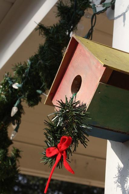 Even the wren house gets a festive wreath