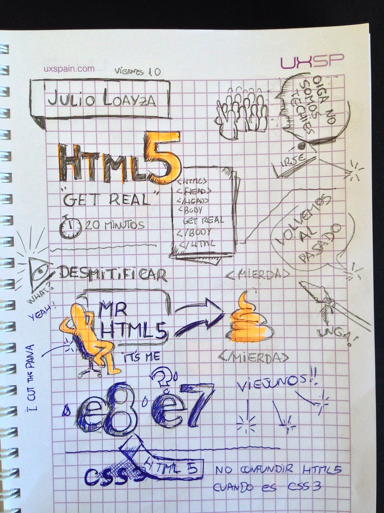 Javier Alonso Gómez graphic recording. UxSp Julio Loayza HTML5 Get Real!