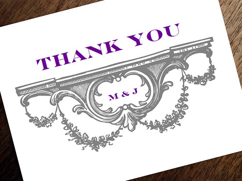 Gray and Purple Thank You Card Design