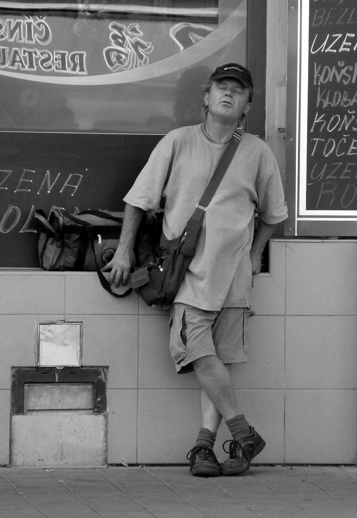 Another Candid Man in front of My Beloved Butcher Shop ;-)
