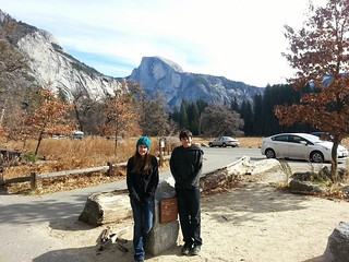 Isabel and Tony in Yosemite with Half Dome behind them.