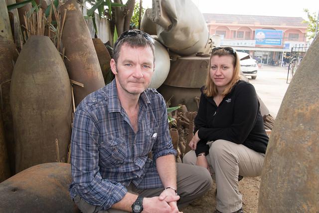 David & Amy at tourist registration, Phong Savanh, Laos