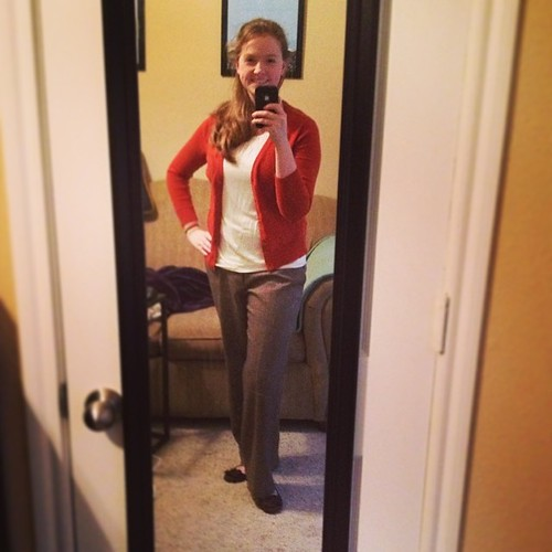 Starting off 2014 with a blurry #sharpdressedlady #ootd! One of my goals for 2014 is to get these wool pants tailored so they're less wide-legged. Cardigan - Target; Top - Ann Taylor; Shoes - X-Appeal; Hair - Houston humidity.