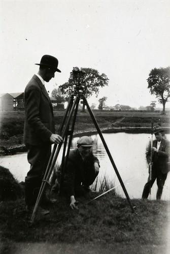 Wythenshawe, Surveyors near Elm Tree Farm,circa 1940