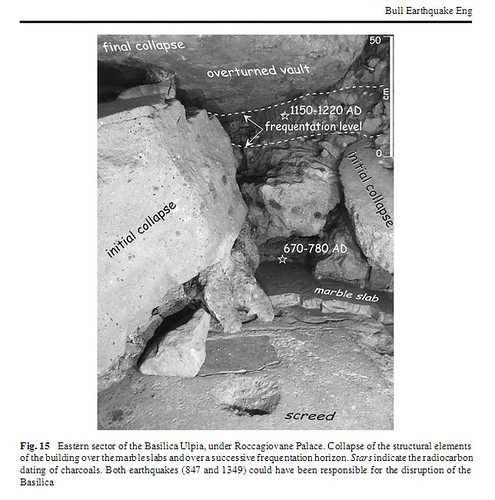 ROMA ARCHEOLOGIA: Foro di Traiano - Basilica Ulpia - Pal. Roccagiovane: [Roma, terremoto di] (ca. 847 & 1349 A.D.); in: