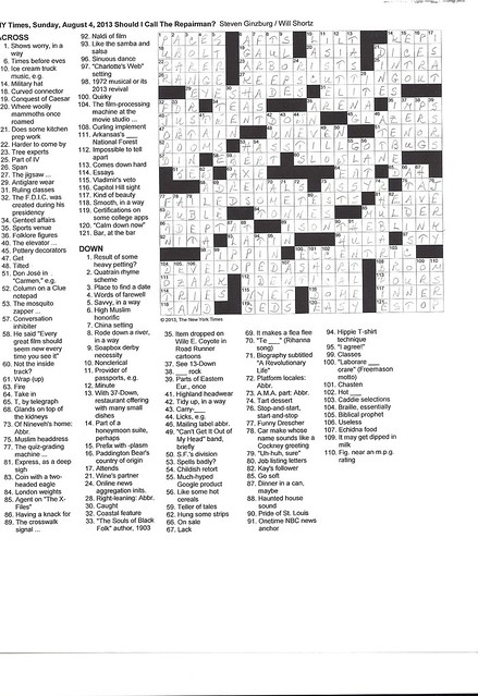NYT Sunday Puzzle - August 4, 2013