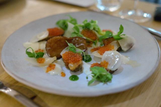 jerusalem artichoke, savoy cabbage, trout roe, tarragon, chickweed, oyster cream