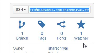 Get BitBucket SSH URL to clone the project repository