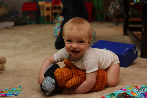 20130511. Zach's 1st birthday, hugging his new hedgehog and rabbit.