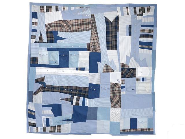 Improvisational patchwork memorial quilt