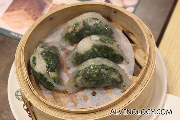 Steamed Spinach Dumpling with Shrimp (S$3.80 for 4)
