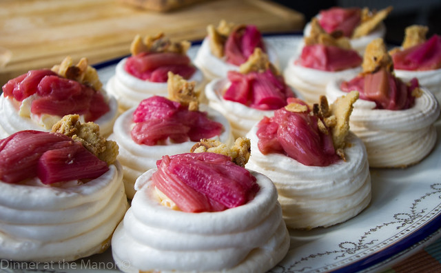 Dinner at the Manor Rhubarb Meringues