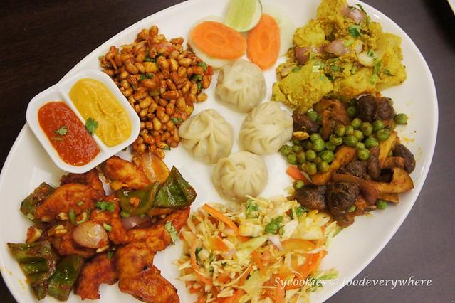 1.Tasting Snack Platter RM 24- chicken chilli, Bhuteko Bhatmas, Nepali salad, Mushroom peas, Aloo Silam and momo (8)