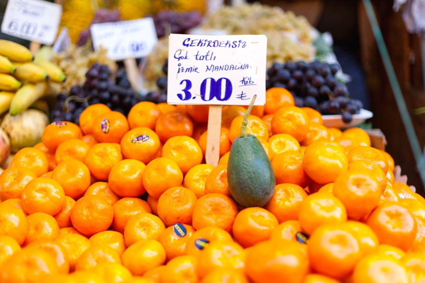 Fruit display at vendor in Kadikoy, Turkey.