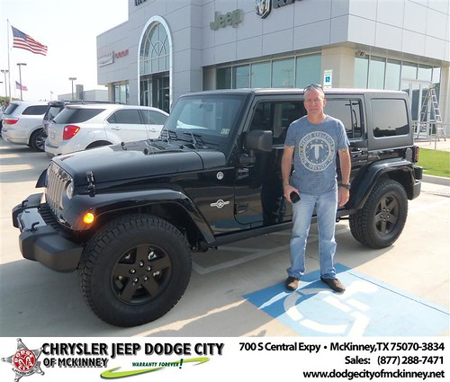 Dodge City of McKinney would like to say Congratulations to Stuart Mccoy on the 2013 Jeep Wrangler from Bobby Crosby by Dodge City McKinney Texas