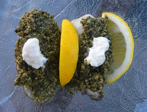 Oysters with Cilantro Pesto