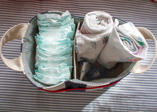 striped divided basket