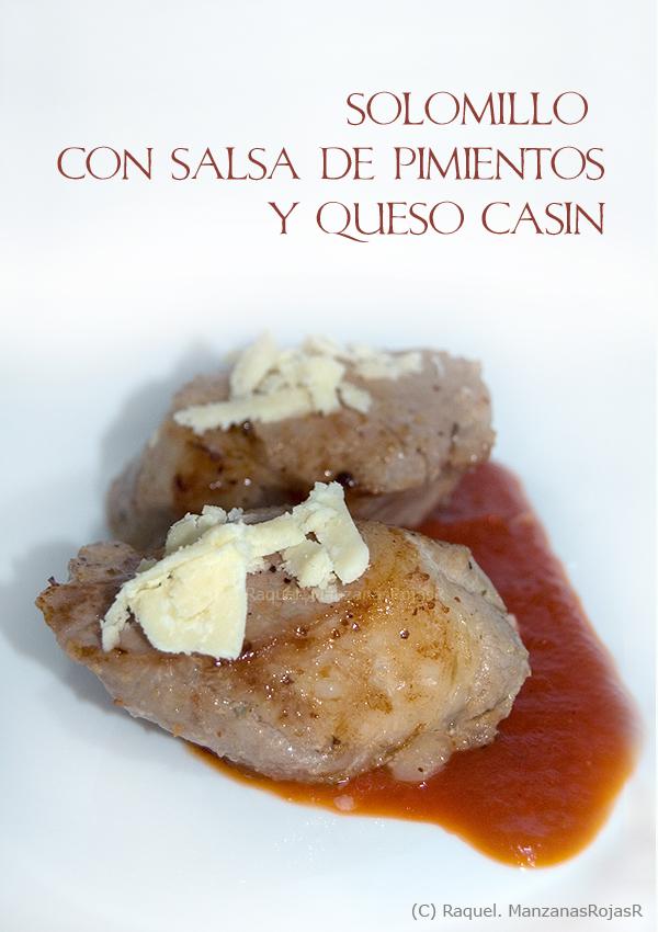 Solomillo con salsa de pimiento y queso Casín. ManzanasRojasR