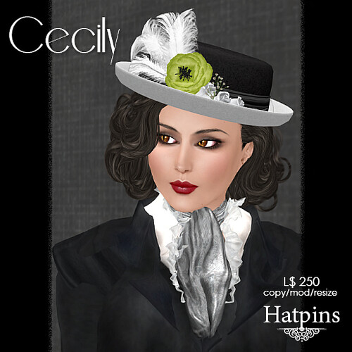 Hatpins - Cecily Hat - Lime Flower