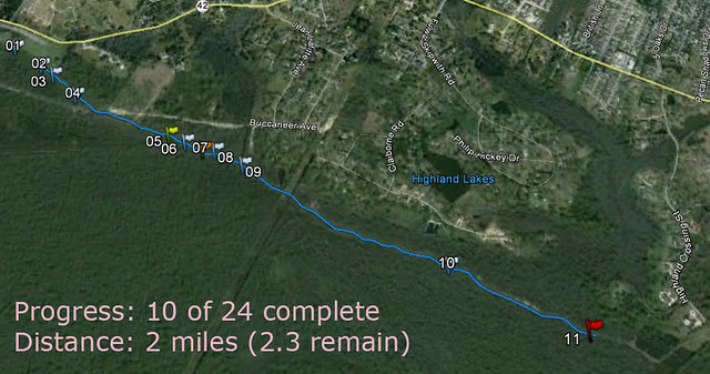 Progress: 10 of 24 complete<br />Distance: 2 miles (2.3 remain)