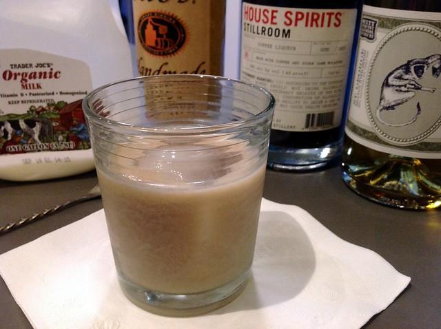 Green Russian with vodka, coffee liqueur, whole milk, absinthe verte