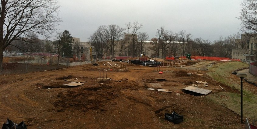 Building site near Wells Library