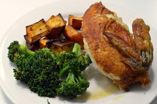 Fragrant roast chicken w cinnamon pumpkin and broccolini