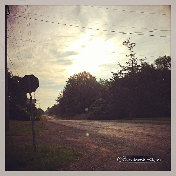 June 27 - into the sun {as the clouds come rolling in; my corner as I leave for work} #fmsphotoaday #sun #princeedwardcounty #millerroad #clouds