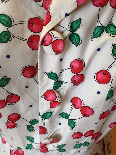 cherry-print shirtdress buttons