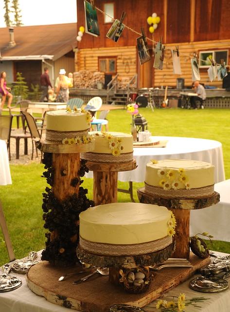 Outdoors Traditional Country Style Wedding Cakes Yellow