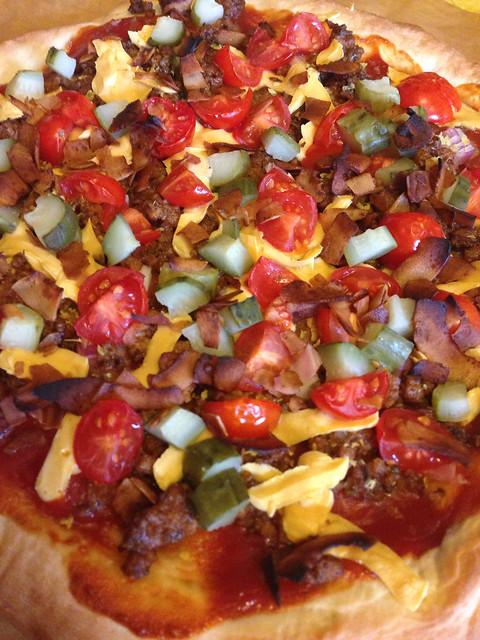Vegan Cheeseburger Pizza (featuring Beyond Meat & Teese cheese)