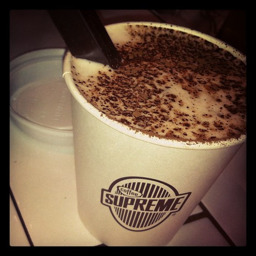 A while ago: soy hot chocolate from Moustache, with a Whittakers bar as stirring stick.