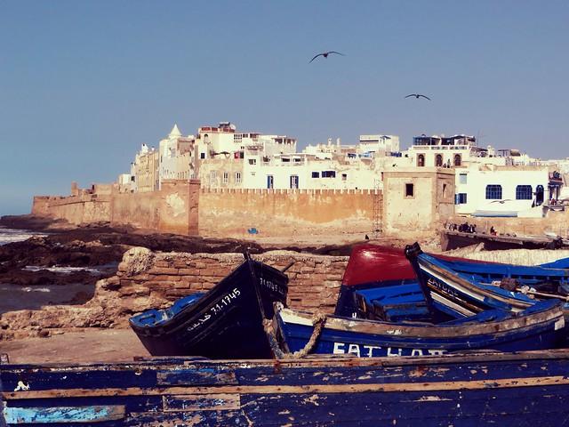 fishing boats, walls, medina, essaouira