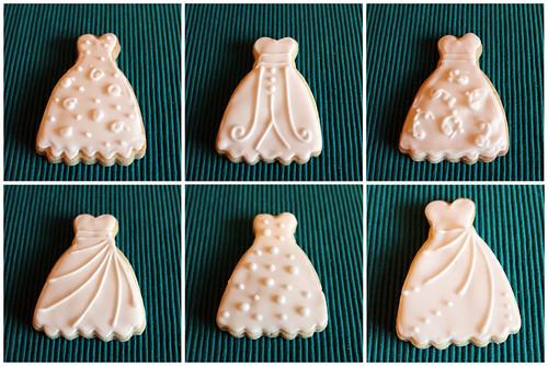 Wedding dress cookies by Mandalina Bakery in Farnborough